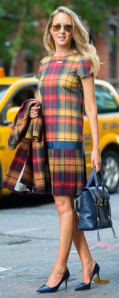 Thom Browne's black fleece red, blue and yellow tartan plaid coat & dress Phillip Lim bag + navy Jimmy Choo pumps |S/S 2015