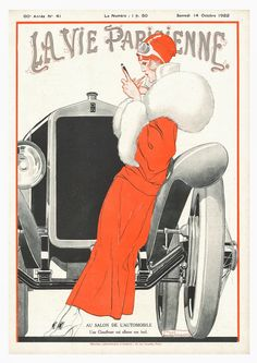 "La Vie Parisienne ""Deco Girl with Car"" by Georges Leonnec 14 October 1922"