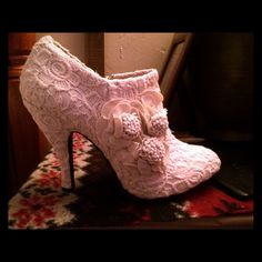 Beige lace pumps Brand new, in perfect condition. It says size 10, but fits like a 9. Gorgeous shoes! Shoes Ankle Boots & Booties