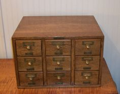 Antique 9 drawer Quartersawn Oak File Vintage Library Card Catalog made by Library Bureau Sole Makers