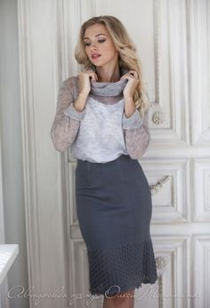 """Charming knitted skirt set suit """"Smoky veil"""" soft mohair blouse with a lush collar and cuffs, pencil skirt with openwork pattern Knit Skirt, Lace Skirt, Tight Pencil Skirt, Ice Dresses, Coats For Women, Clothes For Women, Fashion Beauty, Womens Fashion, Collar And Cuff"""