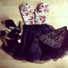 tank top floral summer pretty dress bustier floral bustier crop tops black white skater skirt high