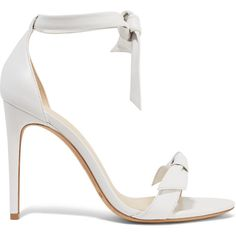 Alexandre Birman Clarita bow-embellished leather sandals (€500) ❤ liked on Polyvore featuring shoes, sandals, heels, white, leather sandals, ankle tie sandals, ankle strap heel sandals, bow tie sandals and white leather shoes