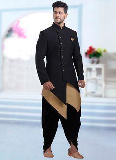 Buy Black Jacquard Indowestern Sherwani online, SKU Code: SHMDC7366. This Black color indowestern sherwani for Men comes with Jacquard Art Silk. Shop Now!