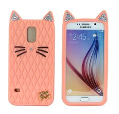 Amazon.com: TISHAA Samsung Galaxy S5, Cute 3D Cartoon Animal Anime Animation Character Protective High Quality Silicone Rubber Bumper Cellphone Case (Bling Cat - Salmon): Cell Phones & Accessories