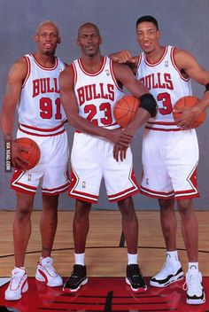 The Trio! THE best basketball player ever: Michael Jordan, Scottie Pippen and the best defensive player/rebounder ever, Dennis Rodman, all of the CHICAGO BULLS Sport Basketball, Basketball Skills, Love And Basketball, Basketball Legends, Basketball Pictures, Basketball Players, Basketball Drawings, Basketball History, Basketball Memes