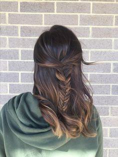 Love my hair!!! #nofilter #balayage #colormelt #beautifulhair #fishtail #braid #shiny #hair #brunette