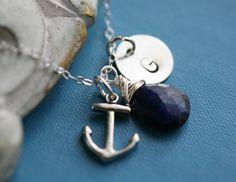Anchor,Navy Blue Sapphire,Custom initial and birthstone Necklace,Original,Birthday,Anniversary,Friendship