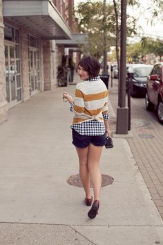 Sweater mullet!  Love the stripes and gingham and shorts and loafers and everything about it.
