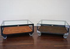 """Industrial Coffee Table - Custom Color - Your choice of four steel finishes and six wood stains.    Made from steel angle iron, rough sawn white pine with a 3/8 inch clear glass table top.  The table frame is fastened with rivets and accent corner brackets, mounted on 5 inch casters. 40"""" L x 34"""" W x 17"""" H, 135 lbs.  Duty Free."""