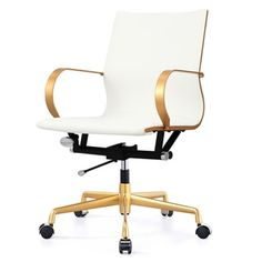 M360 Gold/White Vegan Leather Office Chair - 19179103 - Overstock.com Shopping - The Best Prices on Executive Chairs