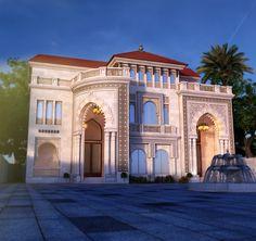 Moorish Façade Classic House Exterior, Classic House Design, Dream Home Design, Modern House Design, Neoclassical Architecture, Modern Architecture House, Islamic Architecture, Architecture Plan, Mediterranean Homes Exterior