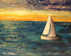 Sailboat painting Wild Blue Yonder - Original palette knife painting by Katie Phillips, $52.00. #art #paintings #seascape #sailboat