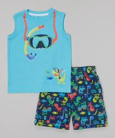 Look what I found on #zulily! Aqua Snorkel Tank & Black Shorts - Infant, Toddler & Boys by Kids Headquarters #zulilyfinds                       11.99