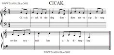 Sheet Music of Cicak - Cicak Di Dinding - Indonesian Children's Songs - Indonesia - Mama Lisa's World: Children's Songs and Rhymes from Arou...