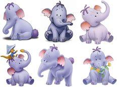 6 x Winnie the Pooh Elephant Heffalump Lumpy Mini Iron On Tshirt Transfers
