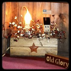 Primitive Slat Box Light - Berries & Saltbox Houses-Primitive Light,Slat Box Light,Primitive Lamp,silicone candle,Saltbox houses,Slat Box Ar...