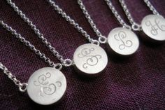 Initial necklace initial pendant sterling silver disc necklace bridesmaids gift maid of honor gift anniversary gift monogram necklace Silver Charms, Silver Necklaces, Sterling Silver Jewelry, Silver Rings, Monogram Necklace, Personalized Necklace, Disc Necklace, Golden Jewelry, Initial Pendant
