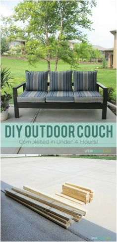 Backyard Furniture Projects You Can DIY Easy Outdoor Furniture Ideas: DIY Outdoor Couch Outdoor Couch, Outdoor Seating, Outdoor Spaces, Outdoor Living, Outdoor Decor, Outdoor Cushions, Backyard Furniture, Furniture Projects, Diy Furniture