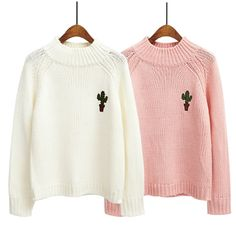 cacti sweater| discount: okaywowcool  kawaii pastel aesthetic cactus cacti plants fachin sweater top discount shopkozy