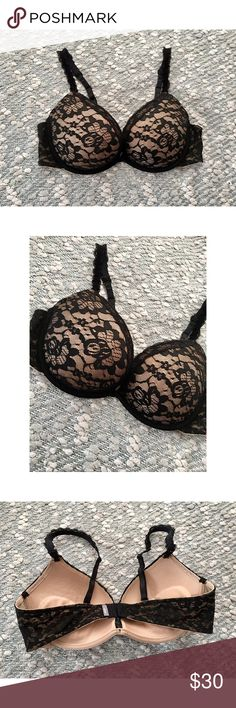 Lace push-up bra   Aerie Super push-up bra from Aerie.  In excellent condition; only worn 1-2 times.  Features a black and nude lace design, lace-trimmed adjustable straps, and removable extra gel padding. aerie Intimates & Sleepwear Bras