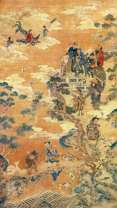 This portrait depicts all the immortals and supernatural beings of Taoists in a great world of nature and peace.      Title: The Eight Immortals, the Three Stars, and the Queen Mother of the West at the Turquoise Pond Date & Time period: 1736-95, Qing dynasty, Qianlong reign Unknown Artist