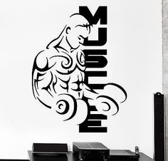 Muscle building tips for the beginner Dojo, Vinyl Decals, Wall Decals, Wall Stickers Sports, Muscle Building Tips, Fitness Studio, Barbell, Interior And Exterior, Interior Design