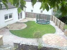 Circular themed irregularly shaped garden with a circular lawn truncated to allow curved patios and a sunken trampoline.