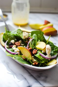 Apple and Pecan Spinach Salad with Maple Cider Vinaigrette