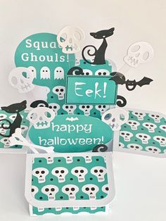 Excited to share this item from my #etsy shop: Halloween skull pop up card, 3D card, exploding card, handmade card, bats, bones, cat card #papergoods #halloween #ghoulscard #spookycard #bonesskeleton #cattailscard Halloween Pop Up Cards, Halloween Skull, Happy Halloween, Birthday Sentiments, Dog Cards, Cellophane Bags, Handmade Birthday Cards, Bats, Paper Goods