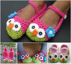 These Crochet Owl Mary Jane Slippers  are so cute and perfect as a gift. <3  Check pattern--> http://wonderfuldiy.com/wonderful-diy-cute-crochet-owl-slippers/