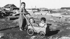 Three orphaned brothers in the aftermath of the atomic bomb attack on Hiroshima. Picture: Getty Images
