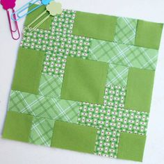 Block 154 - Back to Nature. This block looks complex but it is really easy. A very clever patchwork design by Tula Pink.