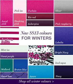 Winter Colours everything but the Breton blue Deep Winter Palette, Deep Winter Colors, Clear Winter, Dark Winter, Color Me Beautiful, Winter Typ, Seasonal Color Analysis, Red Jewel, Cool Undertones
