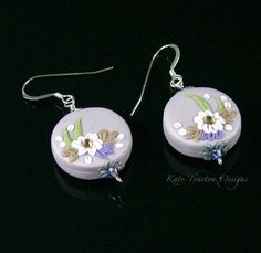 Before The Rain Coin Earrings Polymer Clay by KateTractonDesigns, $39.00
