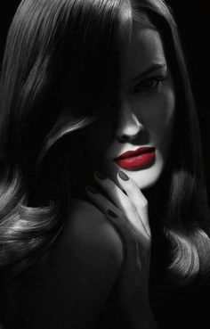 love the red lips with the black & white. Great photo!