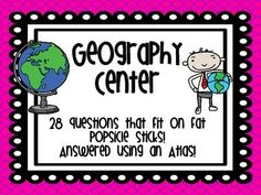 These 28 questions fit perfectly on a FAT Popsicle stick -- all you need is an atlas and the recording sheet for the kids to discover the answers!Use this product as:-Small Group Activity-Early Finisher Activity-Social Studies Station/Center-Partner Activity-Individual Practice Review-Whole Class game! :) Included is:-28 geography questions-Blank question slips for you to create your own! -a label for your Popsicle sticks container-Student Recording Sheet-Answer Key **All answers can be…