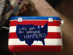 One side of the cooler. Gamma Phi Beta, Sigma Kappa, Fraternity Crafts, Bubba Keg, Painted Coolers, Star Hammer, Cooler Painting, Frat Coolers, Sorority Crafts