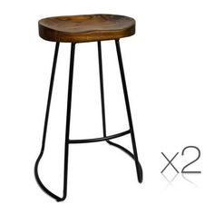 Bar Stools Retro Tractor Seat Design Industrial Wire Steel and Elm Wood Seat