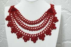 Red statement necklace collar necklace by elegantaccessoryshop