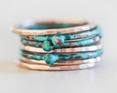 Stacking Rings / Heart Ring / Gold Stack / Stacking by amywaltz