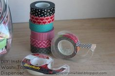 Washi tape ideas. Ways to store the rolls of tape and things to make with it.