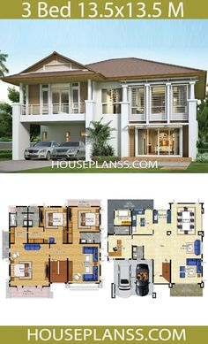 House design idea with 3 bedrooms - House Plans Sam House Layout Plans, Dream House Plans, House Layouts, Kerala House Design, Modern House Design, Three Bedroom House Plan, Architectural House Plans, Model House Plan, Dream House Exterior