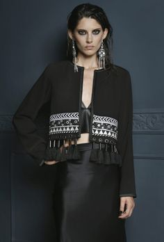 A sophisticated cropped cocktail jacket, adorned with ribbons in metallic silvers and black pompoms. Dainty, bohemian, and boldly unexpected. Iranian Women Fashion, Pakistani Fashion Casual, Hijab Fashion, Fashion Dresses, Fashion Details, Love Fashion, Womens Fashion, Fashion Design, Bohemian Mode