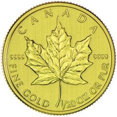 Maple Leaf 1/20 Unze Gold 2014, CAD1 9999/1000 | goldankauf-haeger.de Gold And Silver Coins, Maple Leaf Gold, Mint, Gold 2014, Leaves, Canada, Coins