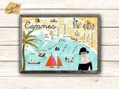Originaldruck - Neu A3 Retro Cannes Collage Poster - ein Designerstück von VintagePaperGoods bei DaWanda
