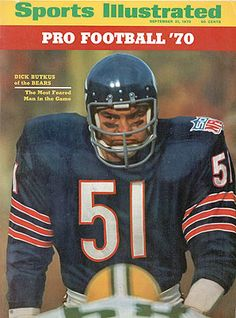 296682e34 September 21 1970 Sports Illustrated CoverFootball Closeup of Chicago Bears  Dick Butkus during game vs Green Bay Packers at Soldier Soldier Field NFL.