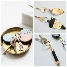 DIY key ring - 9 creative and personalized projects Easy Crafts To Sell, Diy Crafts, Diy Keychain, Keychains, Diy Clay, Jewelry Organization, Diy For Kids, Diy Jewelry, Jewelry Making