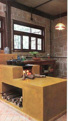 Cozinha com fogão à lenha: 56 imagens para te inspirar! Dirty Kitchen Design, Outdoor Kitchen Design, Kitchen Decor, Indian Bedroom Decor, Indian Home Decor, Residential Interior Design, Diy Interior, Small Balcony Decor, Simple House