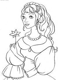 Принцесса - скачать и распечатать раскраску. Раскраска Раскраска принцессы, раскраски для девочек, цветок в руке принцессы, красивое платье, бусы, прическа для принцессы